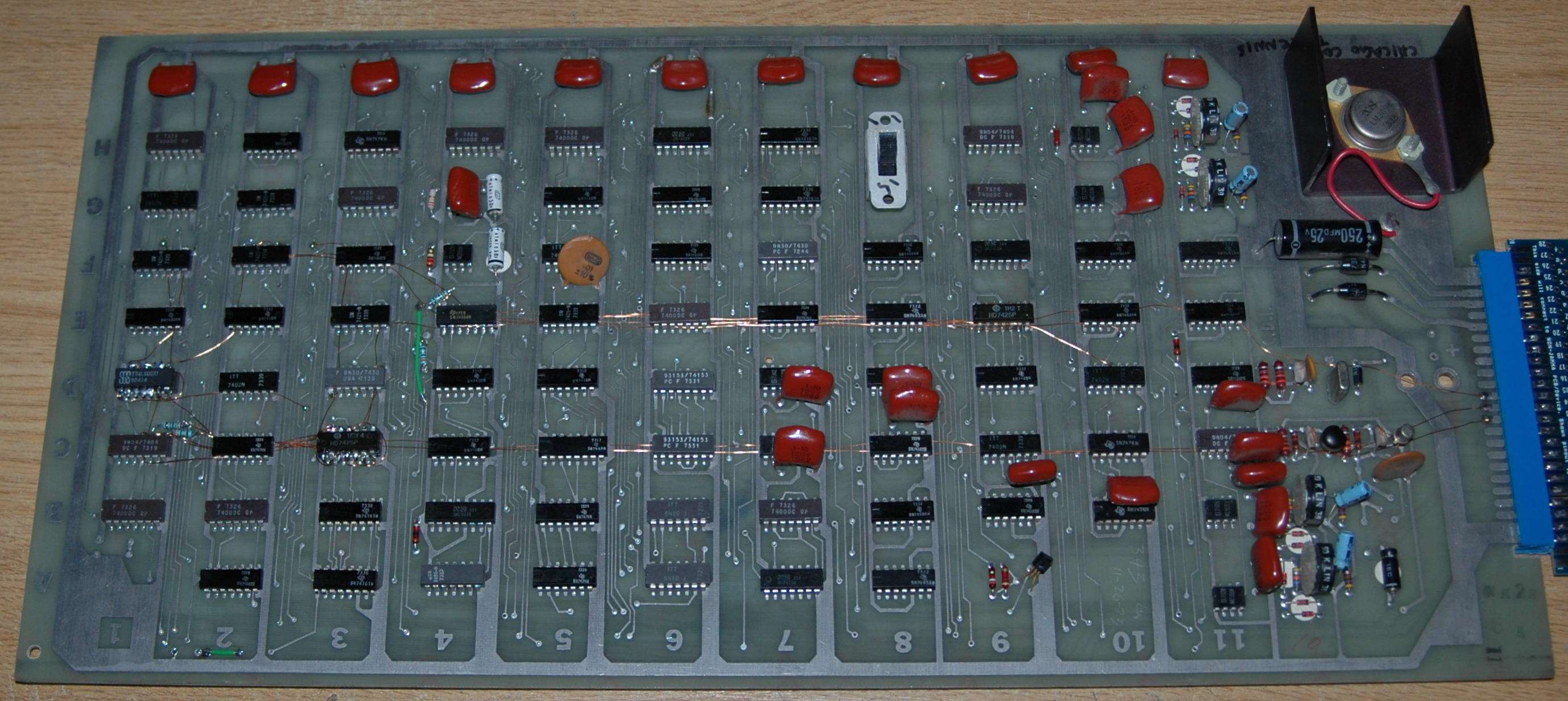 Andys Tv Tennis Pong In Colour Page Atari Wiring Diagram Here Is A Large Photo Of The Pcb As It Modded Now You Can See Theres Quite Number Patch Wires I Used 32swg Enameled Winding Wire