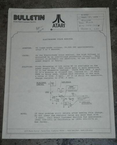 Atari Service Bulletin B-0052 Electrohome color monitor